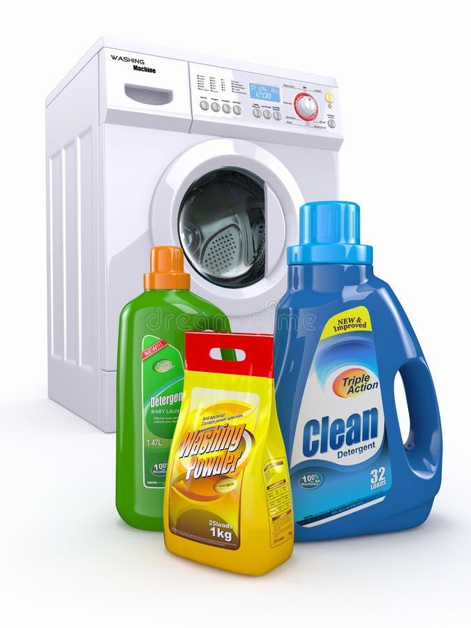 Πλυντήριο ρούχων και καθαριστικά μπουκάλια διανυσματική απεικόνιση