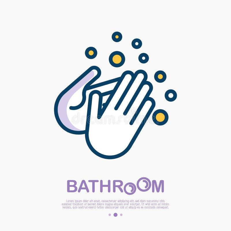 Πλύντε τα χέρια σας με το λεπτό εικονίδιο γραμμών σαπουνιών απεικόνιση αποθεμάτων