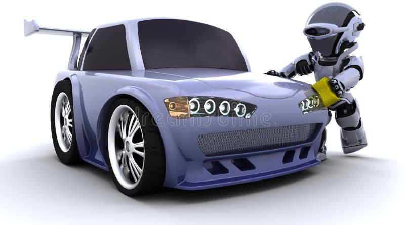 πλύση ρομπότ αυτοκινήτων διανυσματική απεικόνιση