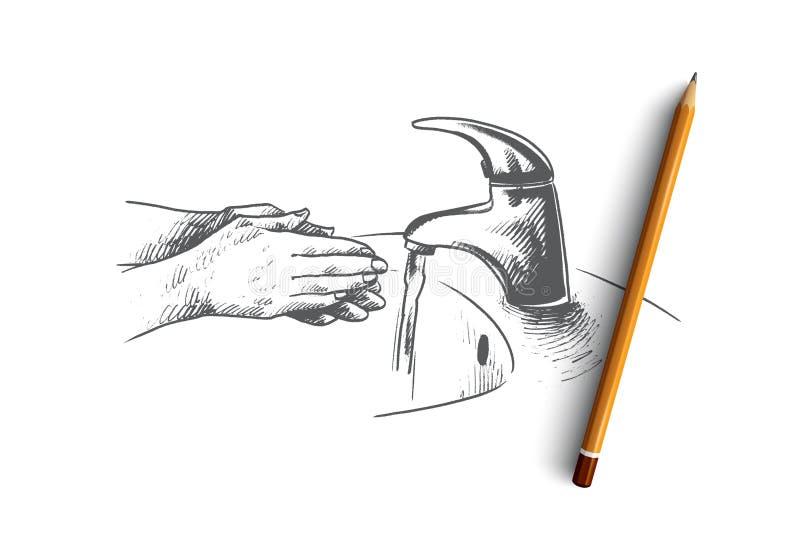 Πλύση της έννοιας χεριών Συρμένο χέρι απομονωμένο διάνυσμα απεικόνιση αποθεμάτων