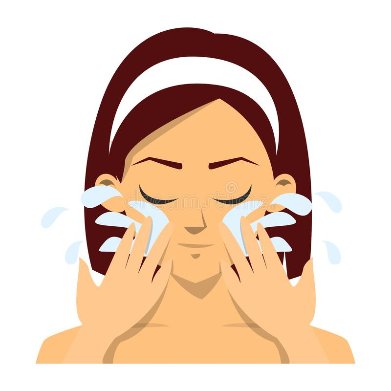 Πλύσιμο γυναικών το πρόσωπο με το φρέσκο καθαρό νερό που απομονώνεται ελεύθερη απεικόνιση δικαιώματος