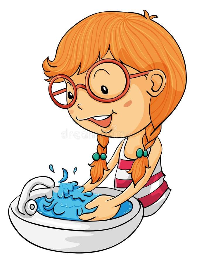 πλύσιμο χεριών κοριτσιών απεικόνιση αποθεμάτων