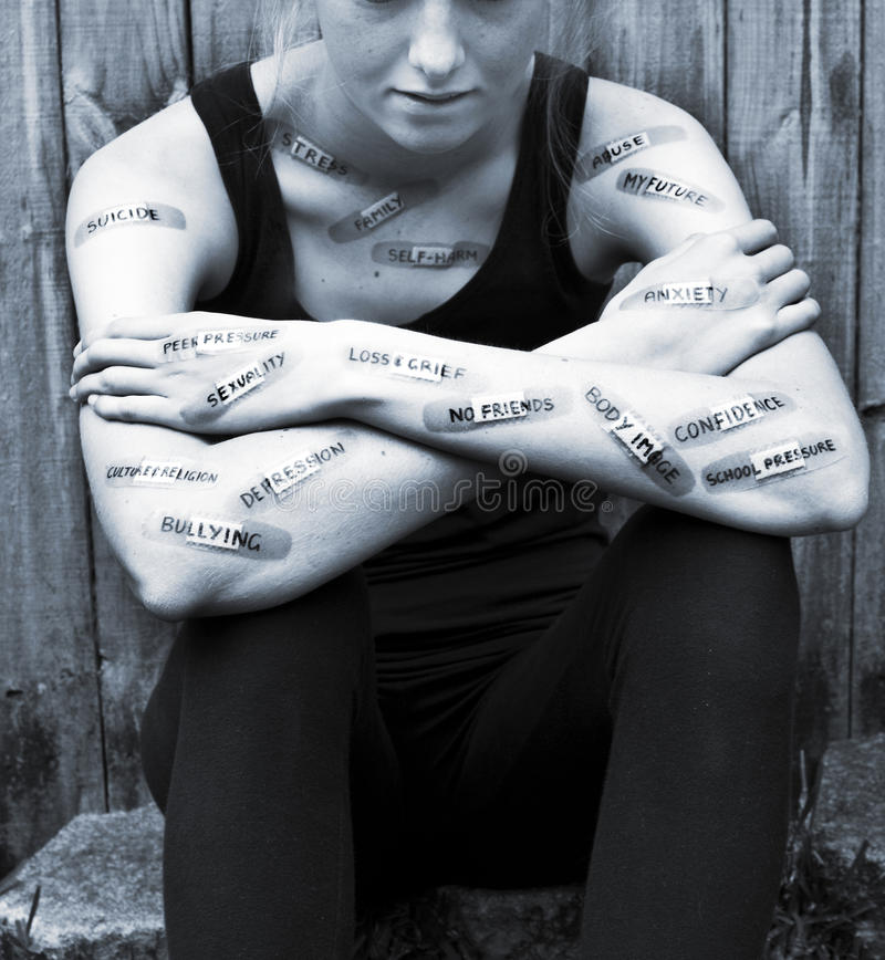 Πνευματικές υγείες ανησυχίας κατάθλιψης εφήβων στοκ εικόνες με δικαίωμα ελεύθερης χρήσης