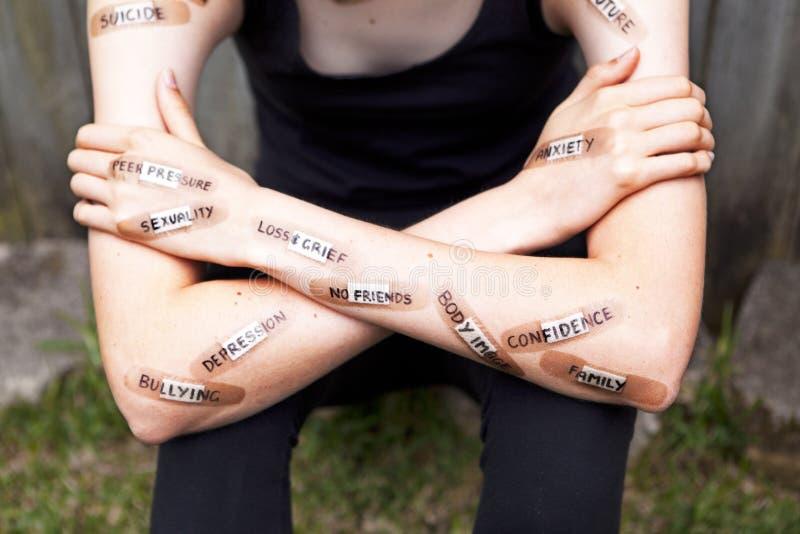 Πνευματικές υγείες ανησυχίας κατάθλιψης στοκ φωτογραφία