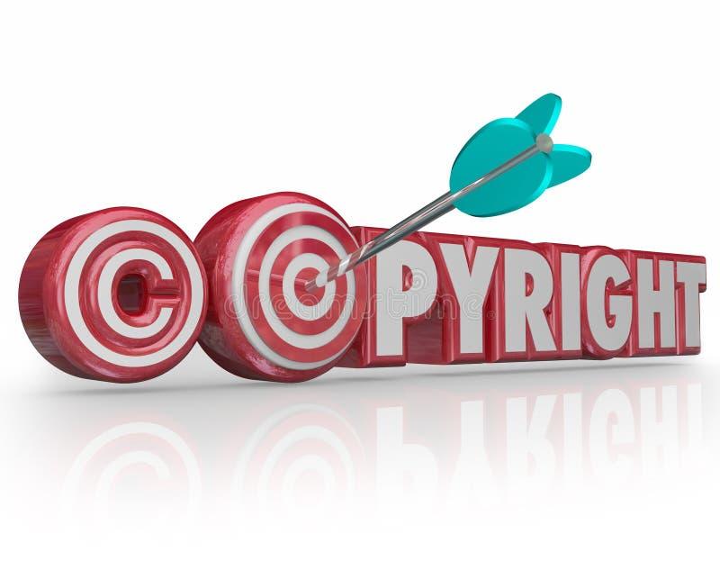 Πνευματικών δικαιωμάτων κόκκινο τρισδιάστατο μάτι ταύρων βελών στόχων συμβόλων λέξεων νομικό διανυσματική απεικόνιση