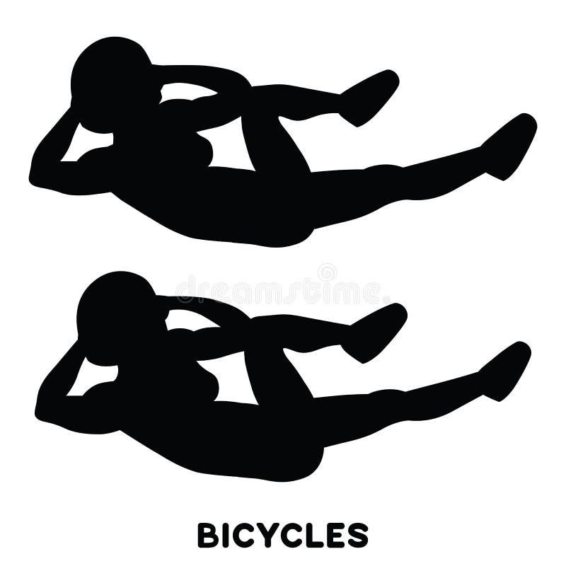 ποδήλατα Αγκώνας στις κρίσιμες στιγμές cnee Διαγώνιες κρίσιμες στιγμές σωμάτων Αθλητικό exersice Σκιαγραφίες της γυναίκας που κάν απεικόνιση αποθεμάτων