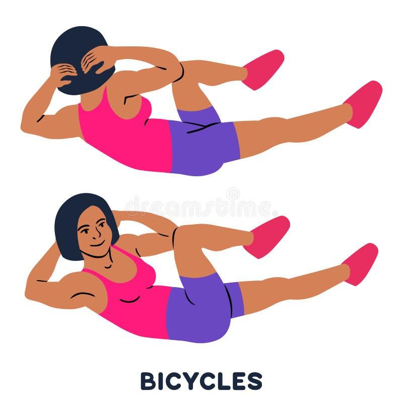 ποδήλατα Αγκώνας στις κρίσιμες στιγμές cnee Διαγώνιες κρίσιμες στιγμές σωμάτων Αθλητικό exersice Σκιαγραφίες της γυναίκας που κάν διανυσματική απεικόνιση