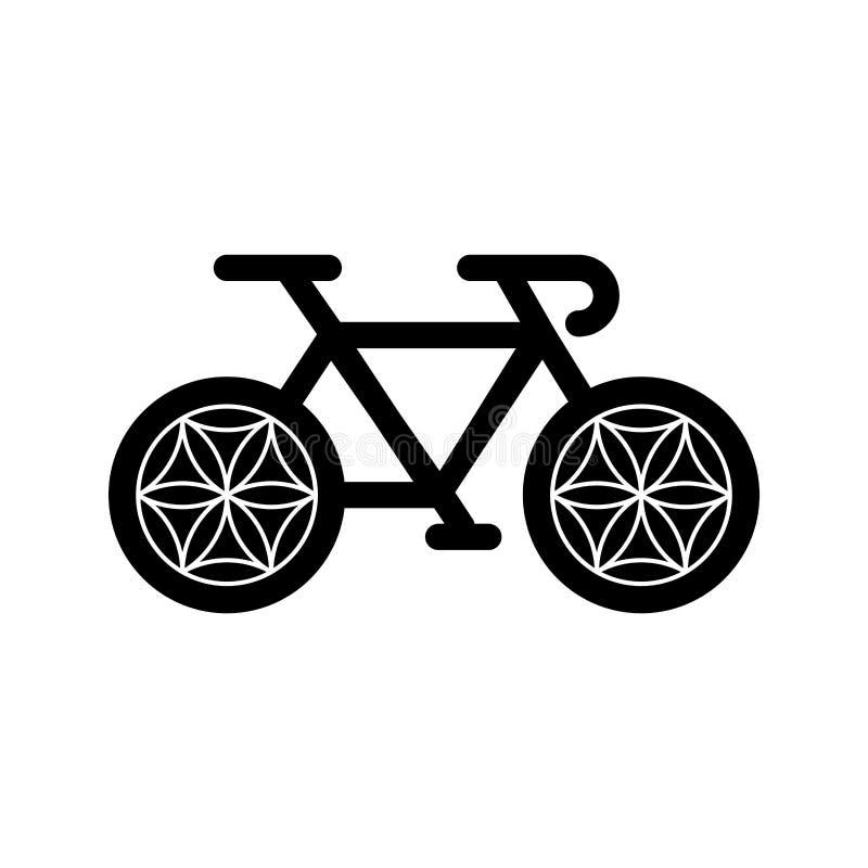 Ποδήλατο γιόγκας με το λουλούδι της ρόδας ζωής που απομονώνεται στο άσπρο υπόβαθρο r απεικόνιση αποθεμάτων