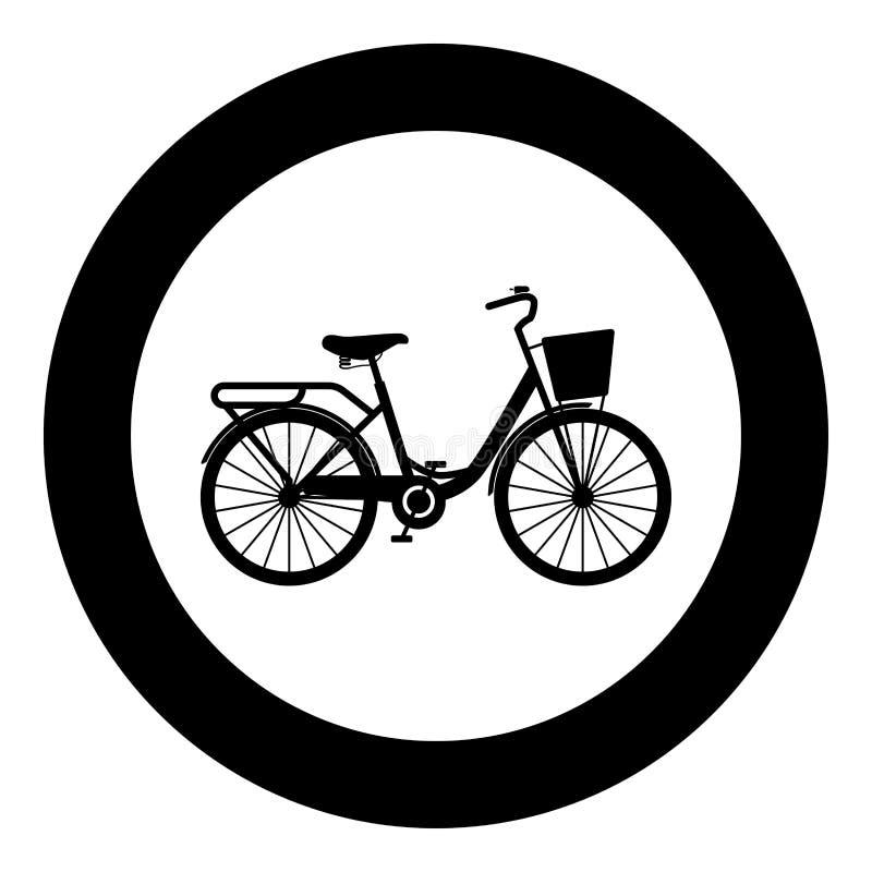 Ποδήλατο γυναίκας με το εκλεκτής ποιότητας εικονίδιο γυναικείων δρόμ διανυσματική απεικόνιση