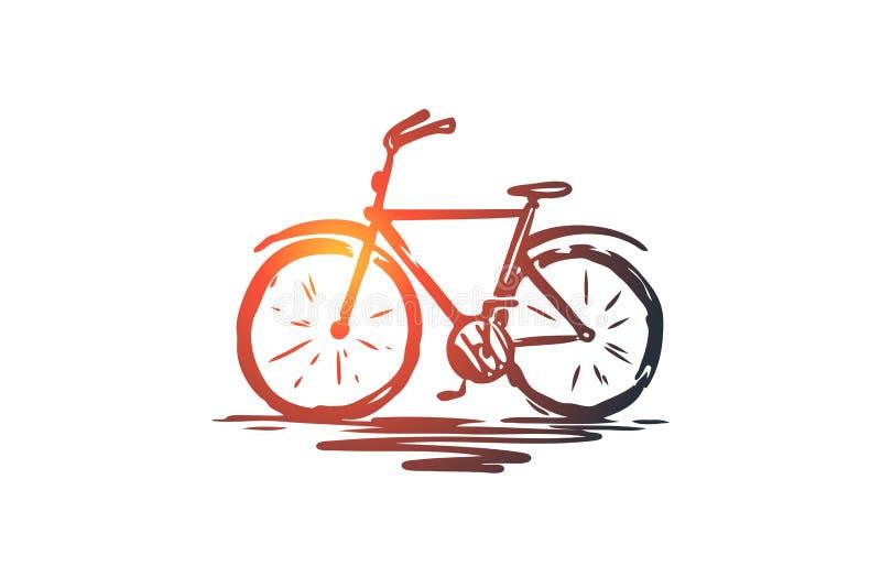 Ποδήλατο, κύκλος, γύρος, ρόδα, έννοια ποδηλάτων Συρμένο χέρι απομονωμένο διάνυσμα διανυσματική απεικόνιση