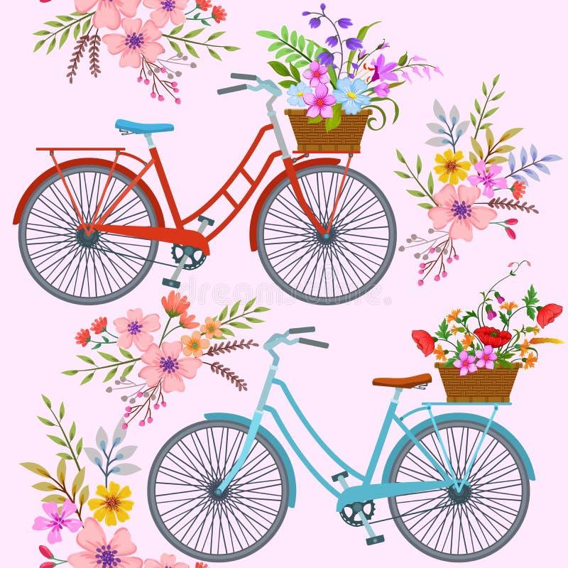 Ποδήλατο με το σχέδιο λουλουδιών διανυσματική απεικόνιση