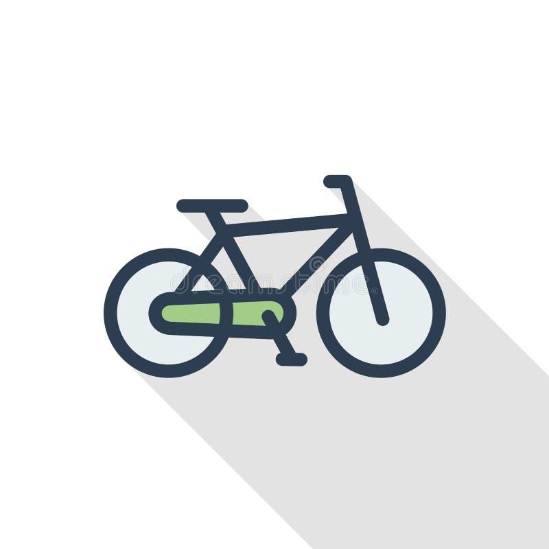 Ποδήλατο, ποδηλάτων λεπτό εικονίδιο χρώματος γραμμών επίπεδο Γραμμικό διανυσματικό σύμβολο Ζωηρόχρωμο μακροχρόνιο σχέδιο σκιών απεικόνιση αποθεμάτων
