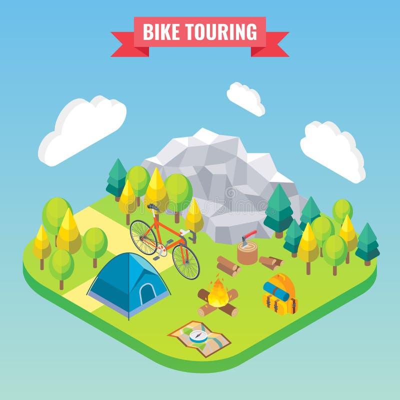 Ποδήλατο που περιοδεύει τη isometric έννοια Διανυσματική απεικόνιση ταξιδιού και στρατοπέδευσης στο επίπεδο τρισδιάστατο ύφος Υπα απεικόνιση αποθεμάτων