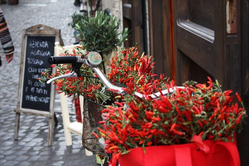 Ποδήλατο της Ρώμης με το κόκκινο - καυτά πιπέρια τσίλι στοκ εικόνες με δικαίωμα ελεύθερης χρήσης