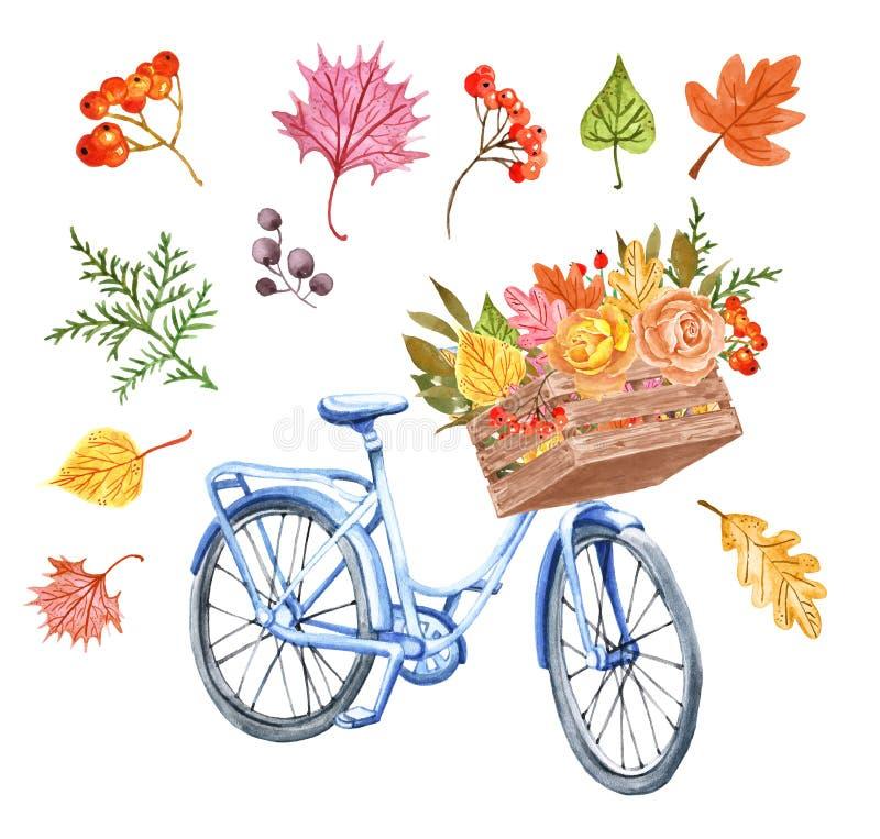 Ποδήλατο φθινοπώρου Watercolor και ζωηρόχρωμα φύλλα σε ένα ξύλινο καλάθι Χαριτωμένο μπλε ποδήλατο με την ανθοδέσμη φυλλώματος πτώ απεικόνιση αποθεμάτων