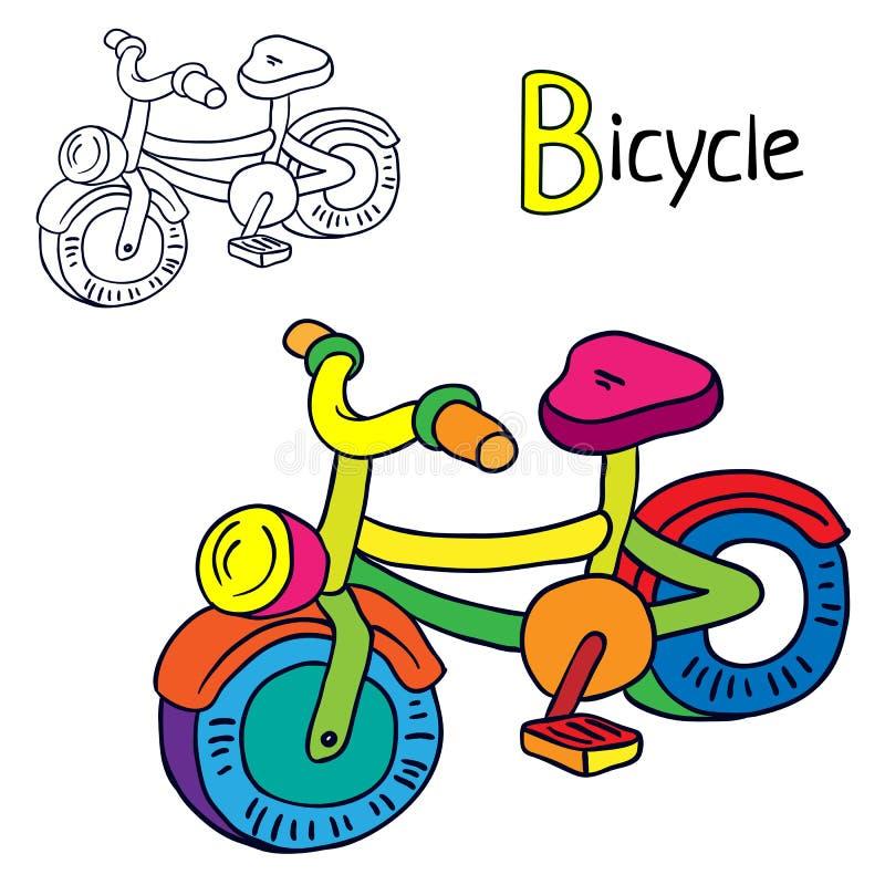 ποδήλατο Χρωματίζοντας σελίδα βιβλίων η αλλοδαπή γάτα κινούμενων σχεδίων δραπετεύει το διάνυσμα στεγών απεικόνισης διανυσματική απεικόνιση