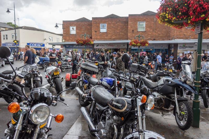 Ποδήλατο Calne ημέρα 2018 - μια ετήσια ημέρα όπου οι πόλης οικοδεσπότες motorcyle παρουσιάζουν Wiltshire UK στοκ εικόνα