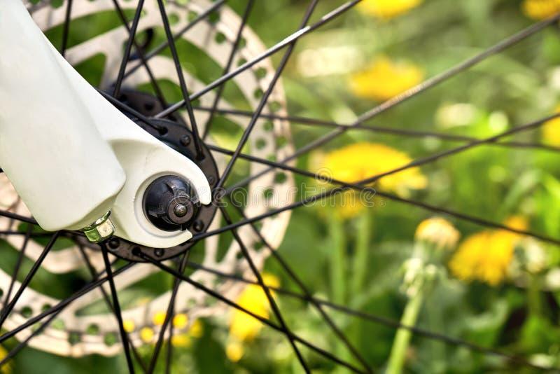 Ποδήλατο spokes και στενός επάνω δίσκων φρένων με την πράσινη χλόη και κίτρινες πικραλίδες στο θολωμένο υπόβαθρο στοκ εικόνες με δικαίωμα ελεύθερης χρήσης