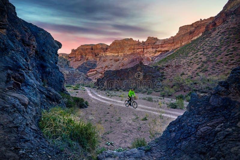 Ποδηλάτης βουνών στην έρημο στοκ εικόνες