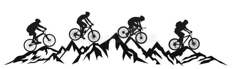 Ποδηλάτης ομάδας στο διάνυσμα βουνών †« απεικόνιση αποθεμάτων