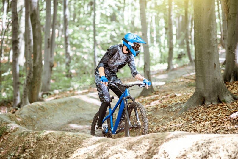 Ποδηλάτης που οδηγά στη δασική διαδρομή στοκ φωτογραφίες
