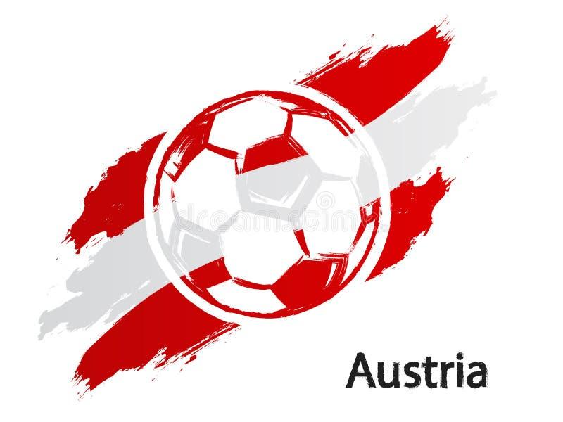 Ποδοσφαίρου εικονιδίων της Αυστρίας σημαιών grunge ύφους απεικόνιση που απομονώνεται διανυσματική στο λευκό διανυσματική απεικόνιση