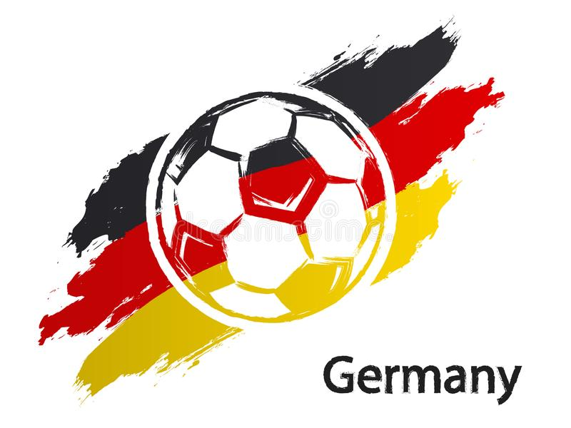 Ποδοσφαίρου εικονιδίων της Γερμανίας σημαιών grunge ύφους απεικόνιση που απομονώνεται διανυσματική στο λευκό ελεύθερη απεικόνιση δικαιώματος