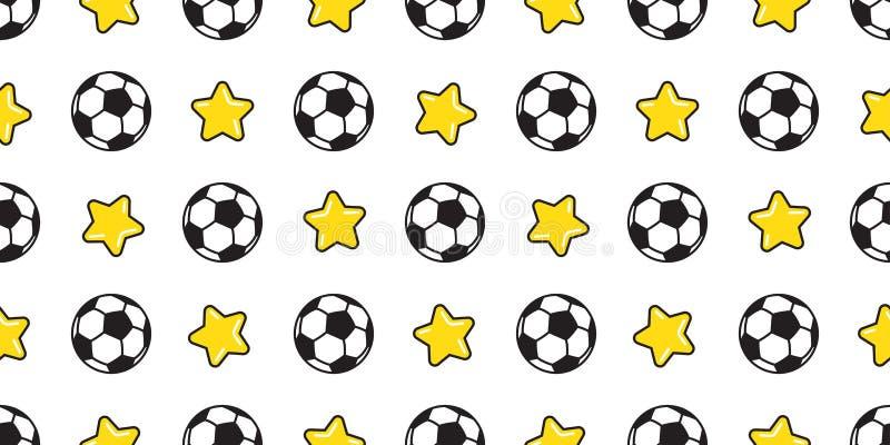 Ποδοσφαίρου σφαιρών ο άνευ ραφής αθλητισμός αστεριών ποδοσφαίρου σχεδίων διανυσματικός απομόνωσε την απεικόνιση ταπετσαριών υποβά διανυσματική απεικόνιση