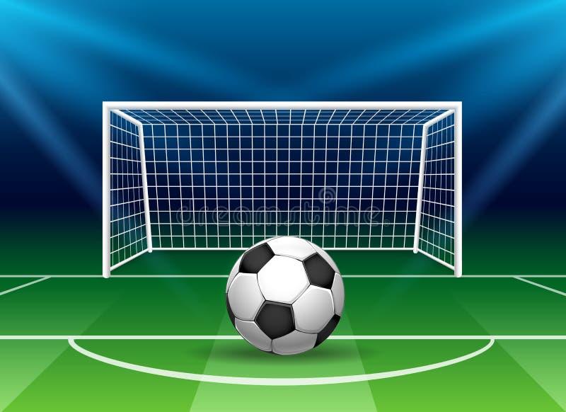 Ποδοσφαιρικός στόχος με μπάλα ποδοσφαίρου διανυσματική απεικόνιση