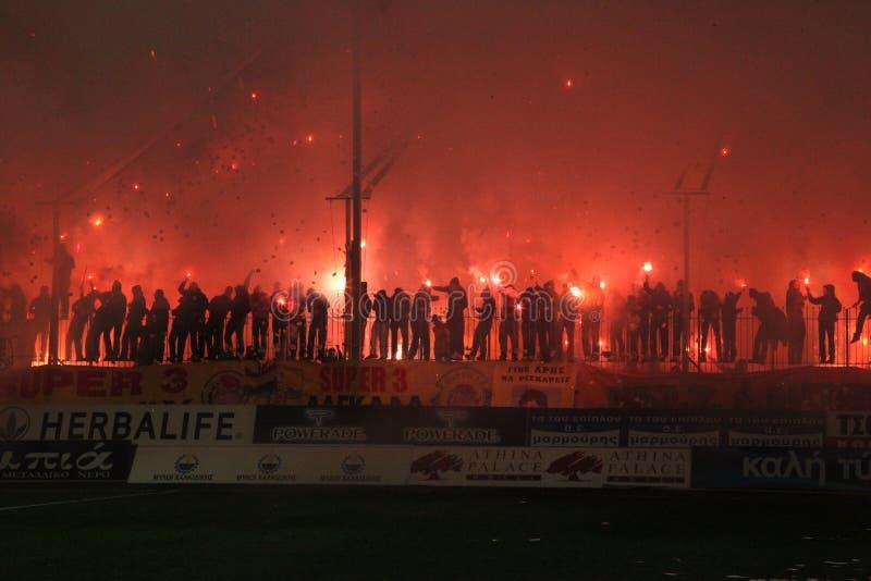 ποδοσφαιρικό παιχνίδι ari paok στοκ φωτογραφία