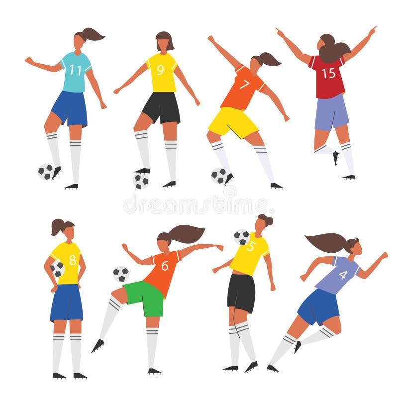 Ποδοσφαιριστές γυναικών Θηλυκή διανυσματική απεικόνιση ποδοσφαίρου απεικόνιση αποθεμάτων