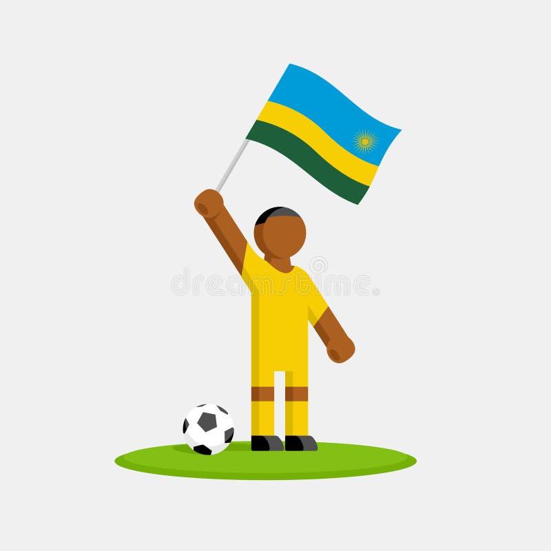 Ποδοσφαιριστής σε κιτ με σημαία ρουάντα διανυσματική απεικόνιση