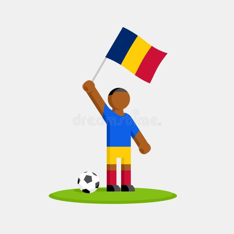 Ποδοσφαιριστής σε σετ με σημαία τσαντ διανυσματική απεικόνιση