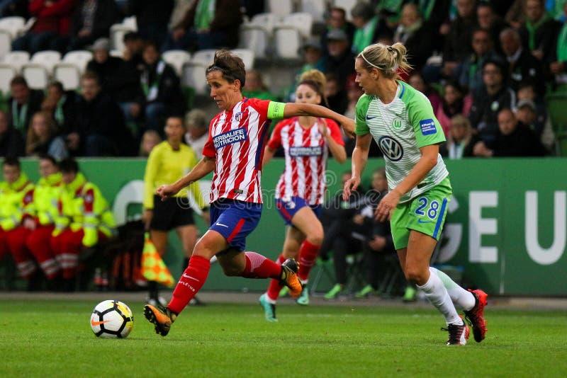 Ποδοσφαιριστής της Μαδρίτης, Σόνια Bermudez, στη δράση κατά τη διάρκεια του Champions League των γυναικών UEFA στοκ φωτογραφίες