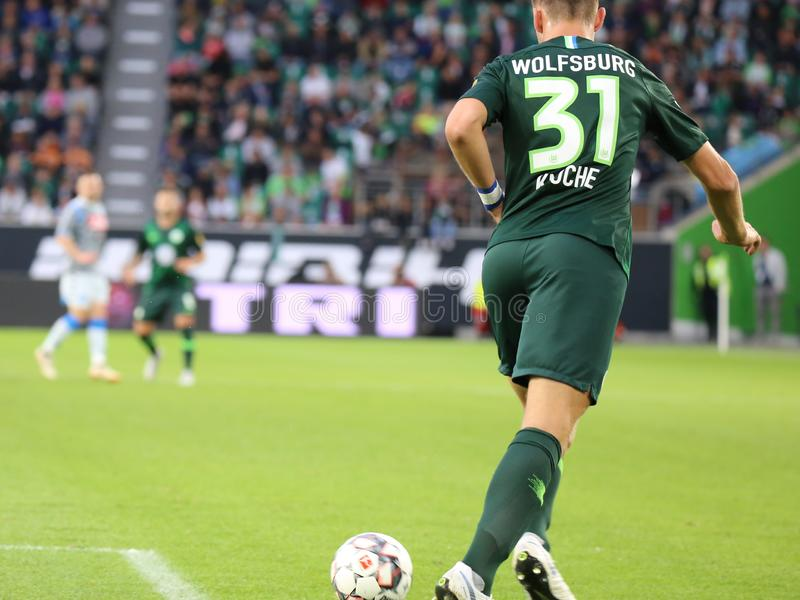 Ποδοσφαιριστής Robin Knoche στη δράση στο χώρο του Volkswagen στοκ φωτογραφία με δικαίωμα ελεύθερης χρήσης