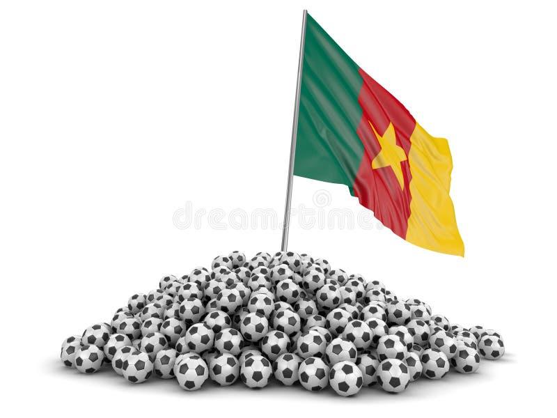Ποδόσφαιρα ποδοσφαίρου με τη σημαία του Καμερούν απεικόνιση αποθεμάτων