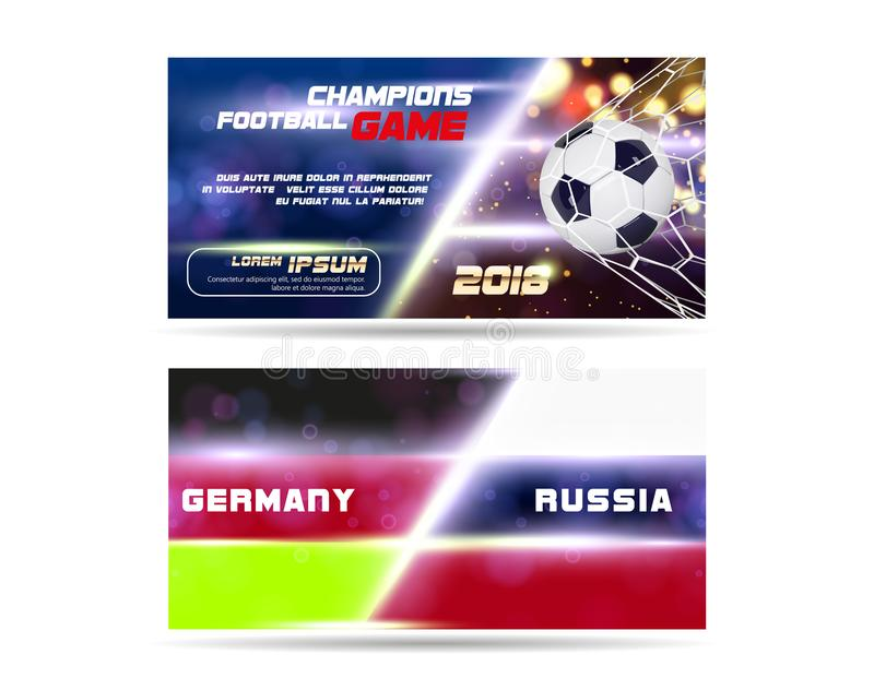 Ποδόσφαιρο ή ευρύ σχέδιο εμβλημάτων ή ιπτάμενων ποδοσφαίρου με την τρισδιάστατη σφαίρα στο χρυσό μπλε υπόβαθρο Στόχος αντιστοιχιώ ελεύθερη απεικόνιση δικαιώματος