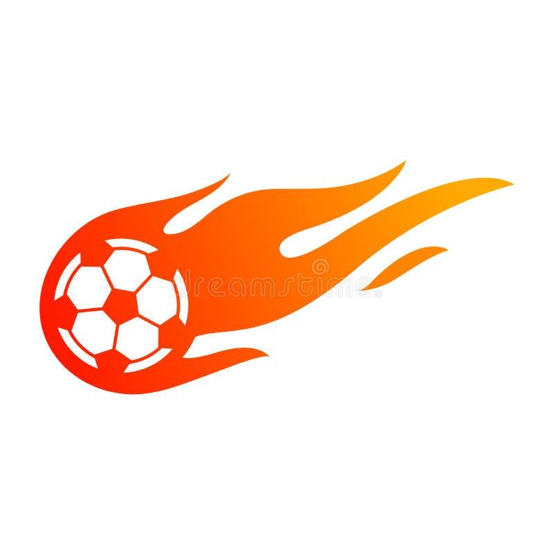 Ποδόσφαιρο ή ποδόσφαιρο με το σύμβολο φλογών πυρκαγιάς απεικόνιση αποθεμάτων