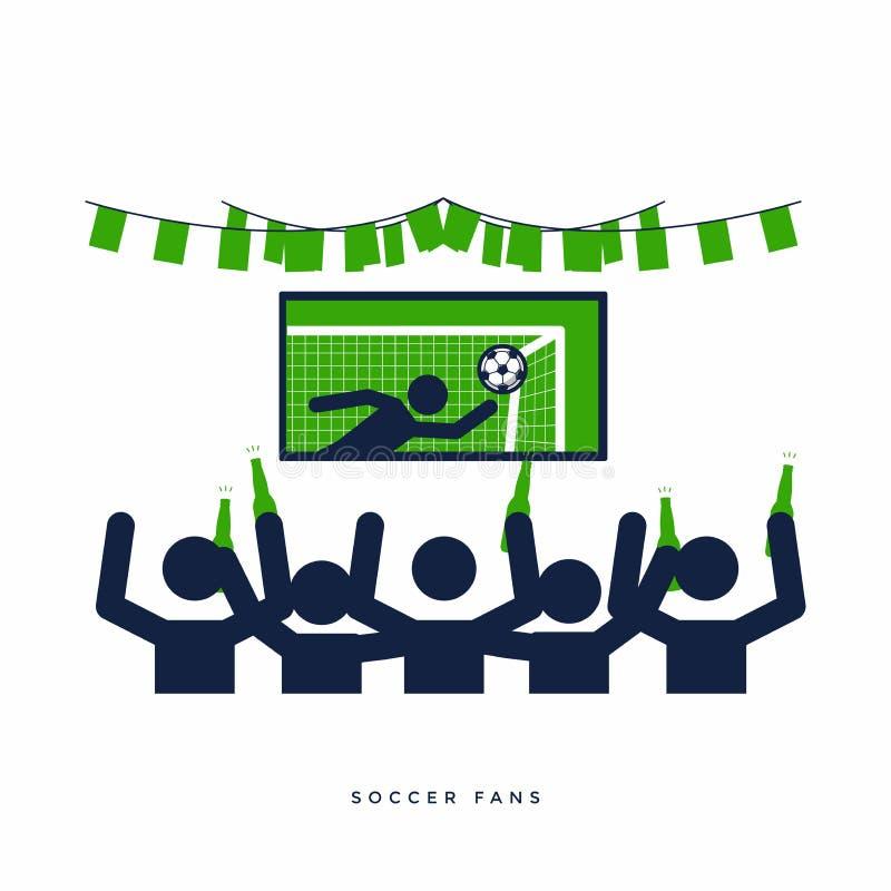 Ποδόσφαιρο ή οπαδοί ποδοσφαίρου με το μπουκάλι μπύρας που προσέχει το ζωντανό ποδόσφαιρο στη TV και την ευθυμία για την ομάδα του διανυσματική απεικόνιση