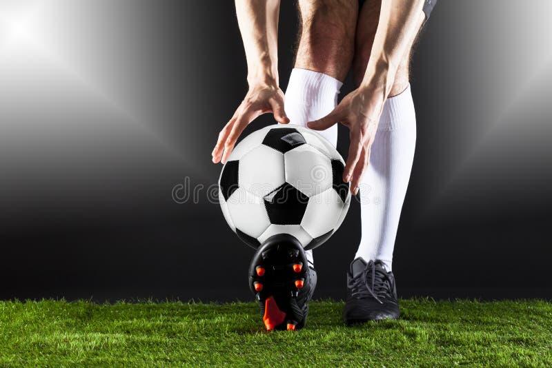 ποδόσφαιρο Αντιστοιχία Fotball Έννοια πρωταθλήματος με τη σφαίρα ποδοσφαίρου στοκ εικόνες