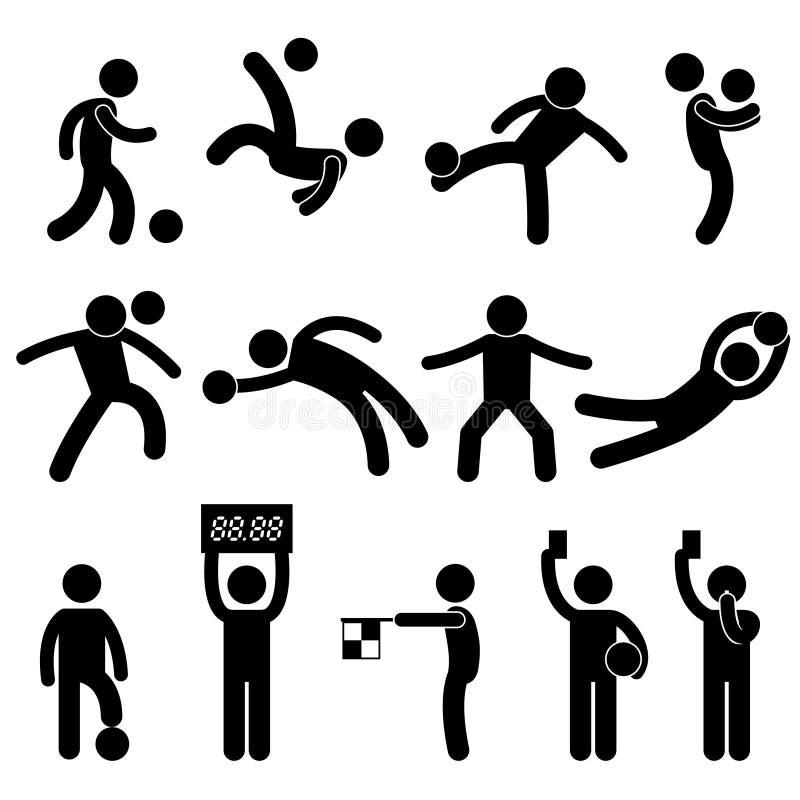 ποδόσφαιρο διαιτητών εικονογραμμάτων εικονιδίων τερματοφυλακάων ποδοσφαίρου ελεύθερη απεικόνιση δικαιώματος