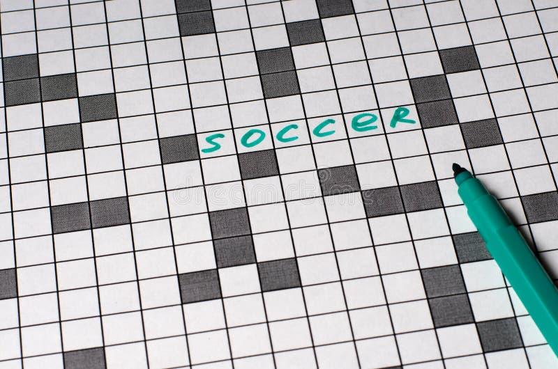 Ποδόσφαιρο Κείμενο στο σταυρόλεξο Πράσινες επιστολές στοκ εικόνες