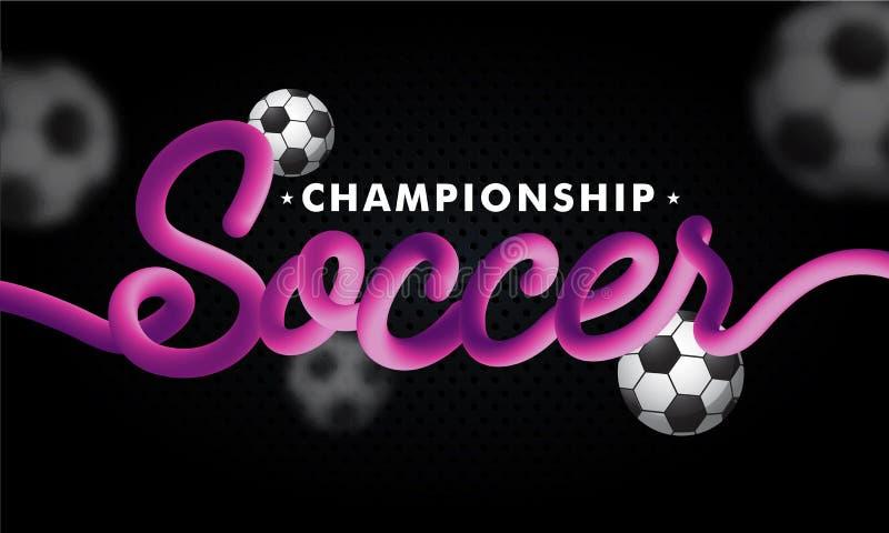 Ποδόσφαιρο κειμένων μίγματος με τα ποδόσφαιρα στο μαύρο υπόβαθρο απεικόνιση αποθεμάτων