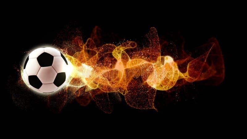 Ποδόσφαιρο με τα ρέοντας μόρια πυρκαγιάς στοκ εικόνες με δικαίωμα ελεύθερης χρήσης
