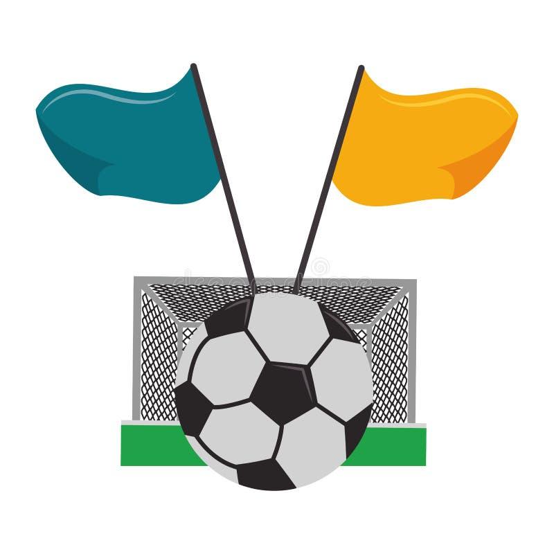 Ποδόσφαιρο με τη σφαίρα και τις σημαίες στόχου διανυσματική απεικόνιση