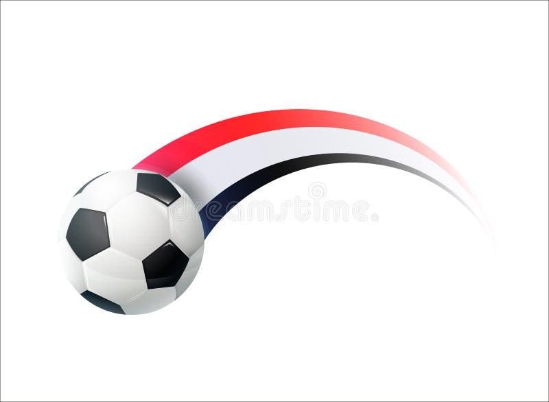 Ποδόσφαιρο με το αιγυπτιακό ζωηρόχρωμο ίχνος εθνικών σημαιών Διανυσματικό σχέδιο απεικόνισης για τα πρωταθλήματα ποδοσφαίρου ποδο ελεύθερη απεικόνιση δικαιώματος