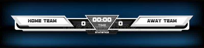 Ποδόσφαιρο ποδοσφαίρου με τον πίνακα βαθμολογίας γραφικό και τη διανυσματική απεικόνιση επικέντρων Ψηφιακό γραφικό πρότυπο οθόνης ελεύθερη απεικόνιση δικαιώματος