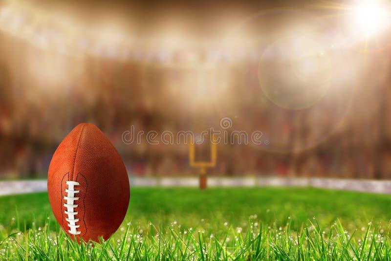 Ποδόσφαιρο στη χλόη έτοιμη για το στόχο ή την έναρξη τομέων στοκ εικόνα