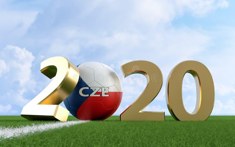 Ποδόσφαιρο 2020 - Σχέδιο για τη μπάλα ποδοσφαίρου στην Τσεχική Δημοκρατία σε γήπεδο ποδοσφαίρου Μπάλα ποδοσφαίρου που αντιπροσωπε απεικόνιση αποθεμάτων