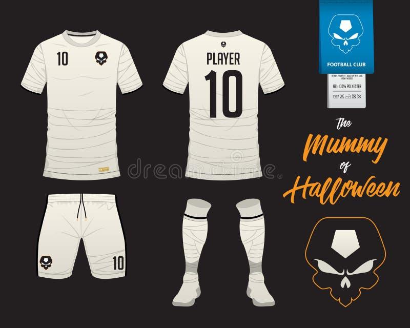 Ποδόσφαιρο Τζέρσεϋ ή πρότυπο εξαρτήσεων ποδοσφαίρου στη μούμια στην έννοια αποκριών απεικόνιση αποθεμάτων
